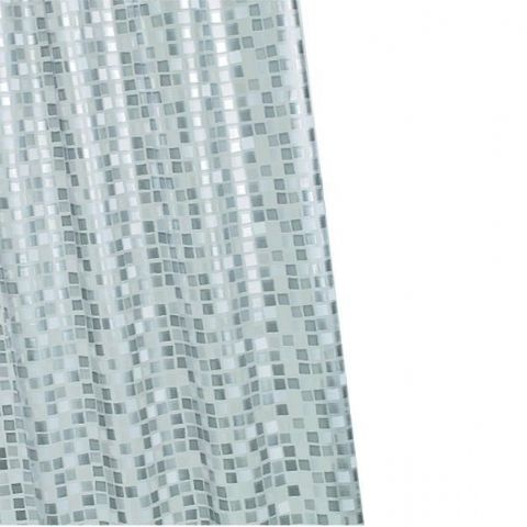 Croydex Silver Mosaic Shower Curtain Wipe Clean